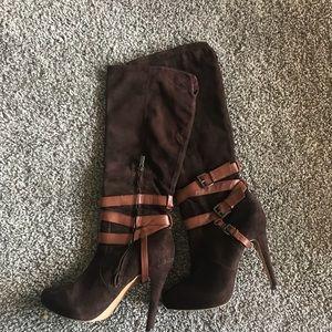 Sam Edelman Roula Dark Brown Suede Buckle Boots